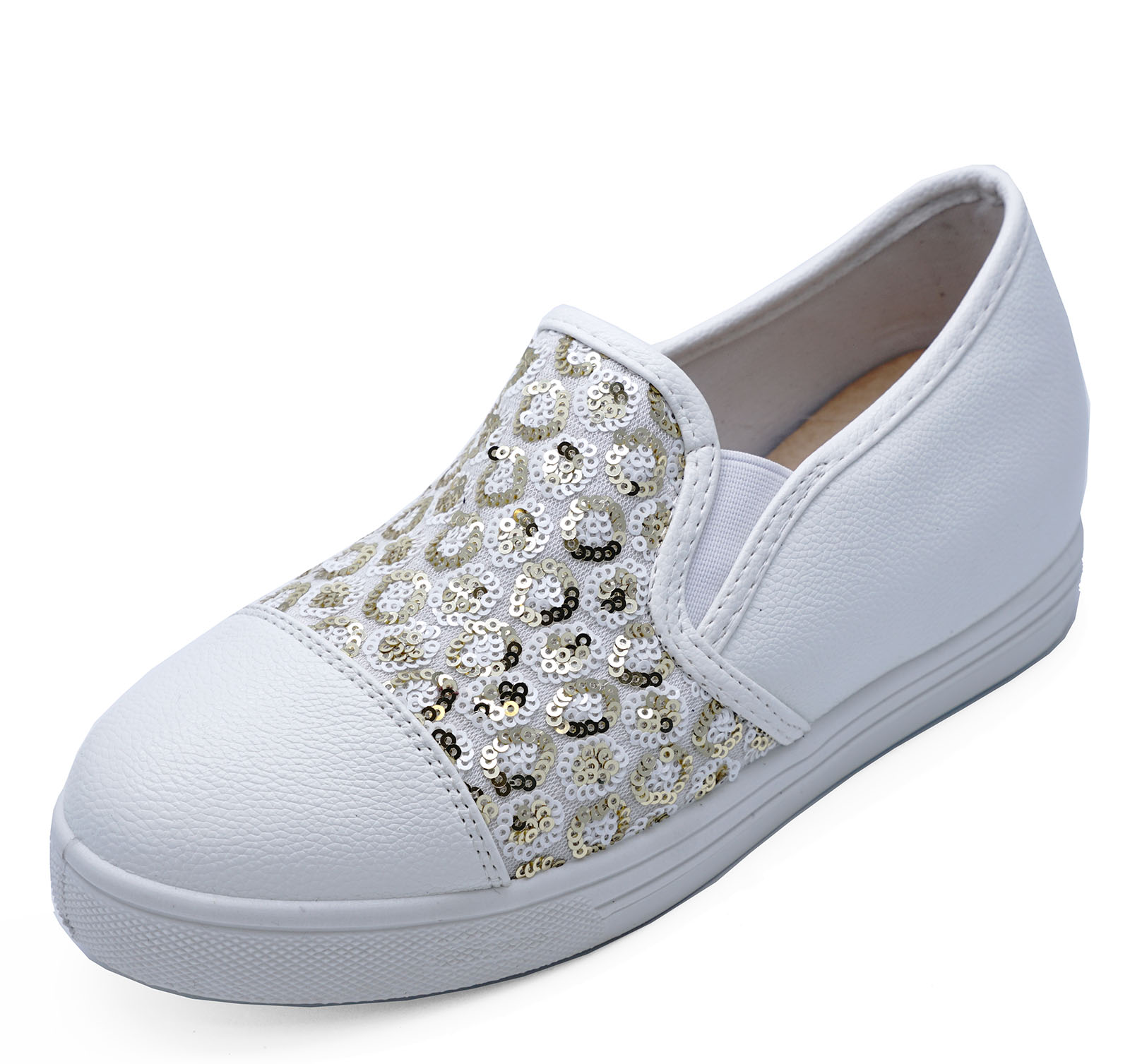WOMENS WHITE GOLD SEQUIN SLIP-ON COMFY PLIMSOLLS PUMPS CASUAL SHOES ... 48cc7a8bb7