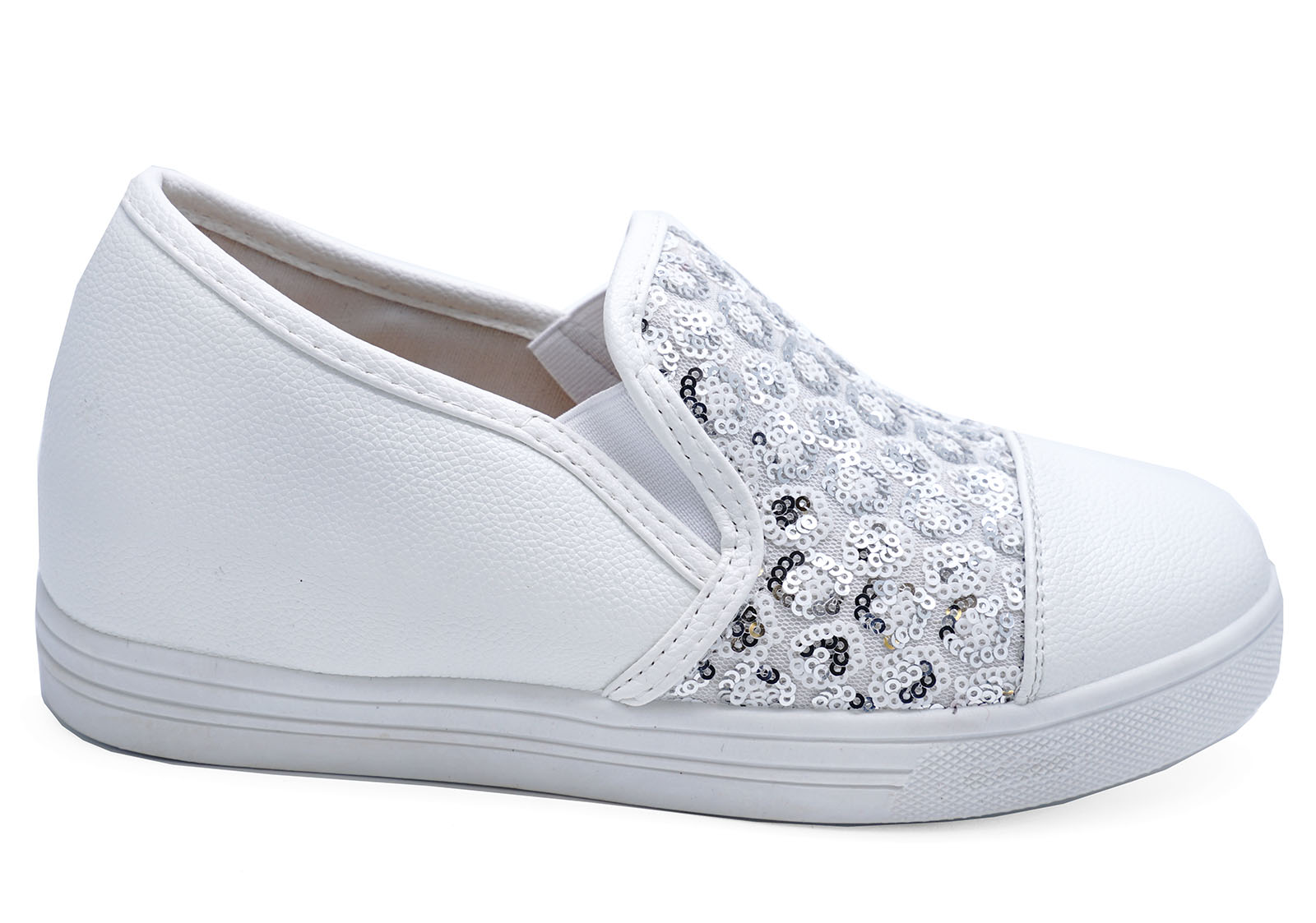 Details about WOMENS WHITE SILVER SEQUIN SLIP-ON COMFY PLIMSOLLS PUMPS  CASUAL SHOES SIZES 3-8 17fcaac5b8