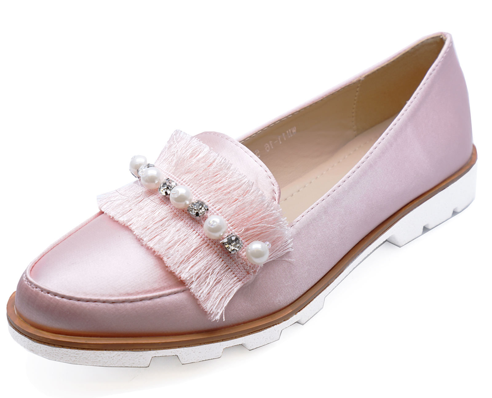 Ladies Pink Slip On Satin Loafers Smart Casual Flat Comfy Pumps