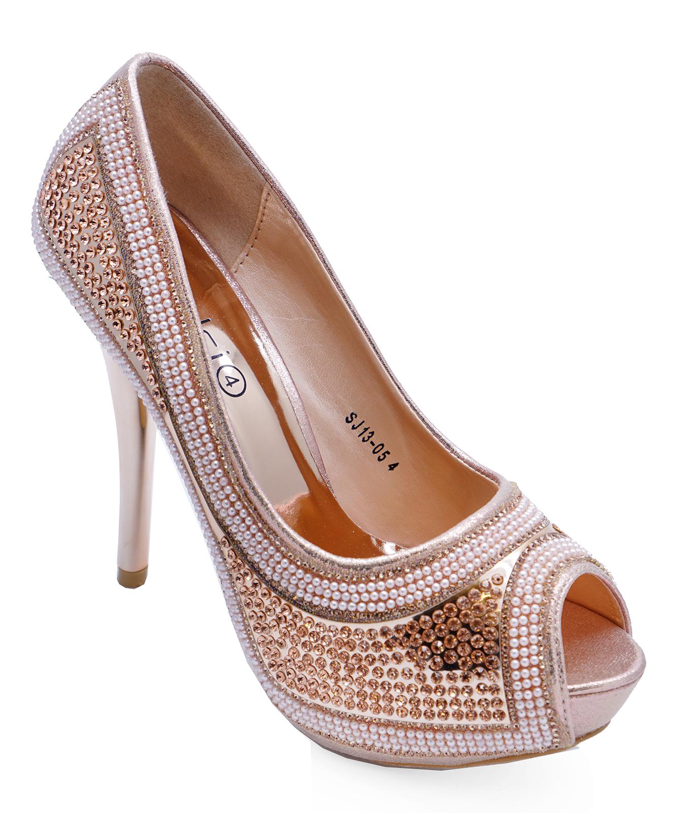 9541d3a4796c Sentinel LADIES ROSE GOLD DIAMANTE WEDDING BRIDESMAID PROM PEEP-TOE PARTY  SHOES UK 3-7