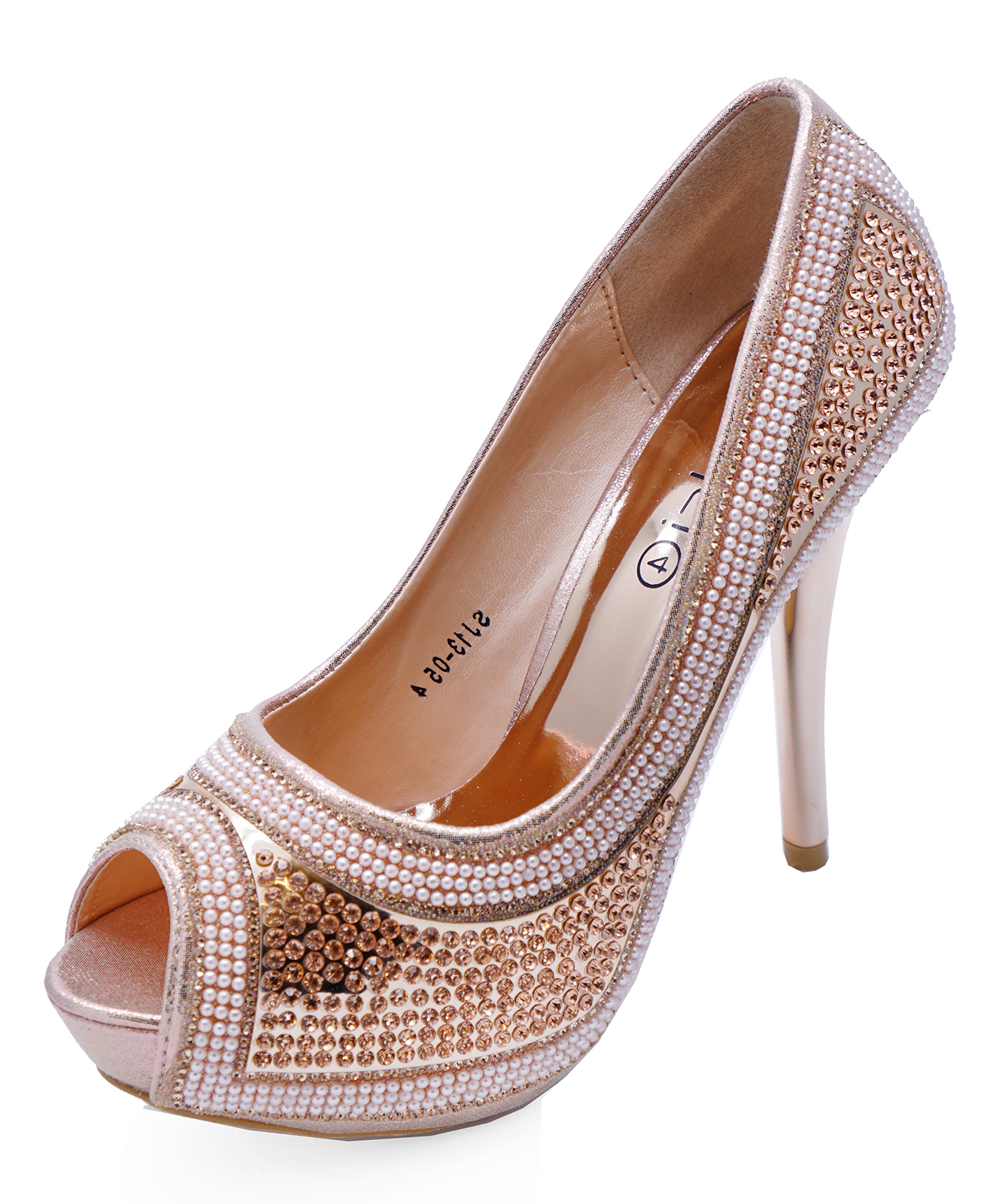 fdbc73ab62f5 Sentinel WOMENS ROSE GOLD DIAMANTE PLATFORM OPEN-TOE STILETTO SLIP-ON SHOES  SIZES 3-