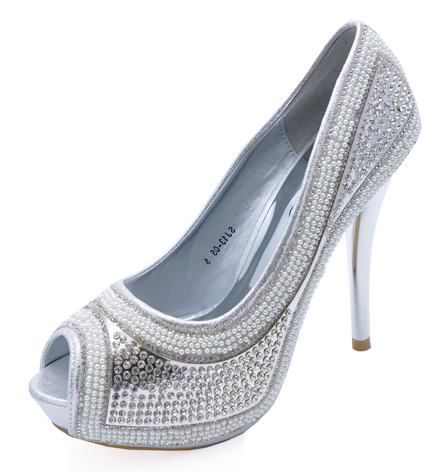 c6904c6d06ef Sentinel WOMENS SILVER DIAMANTE PLATFORM OPEN-TOE STILETTO SLIP-ON SHOES  SIZES 3-7