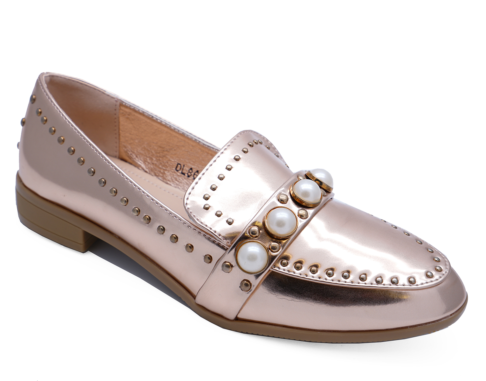 19abafb13ef Details about womens flat rose gold slip on comfy pearl patent loafers pump  shoes sizes jpg
