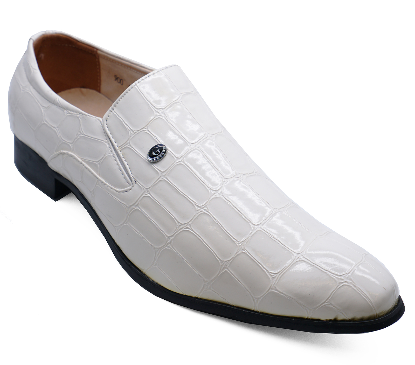 209ce6c6c52d Details about MENS WHITE SLIP-ON FAUX-CROC SMART CASUAL LOAFERS WEDDING  WORK SHOES UK 6-11