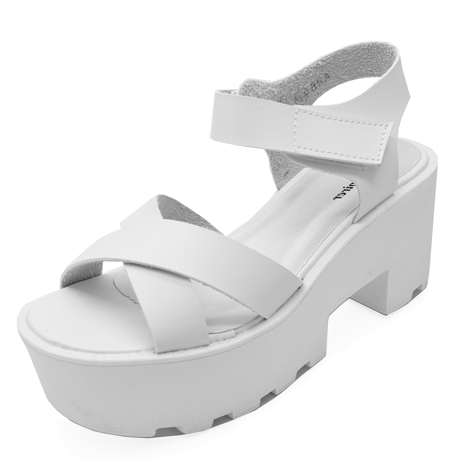 f70fb6ec745 Sentinel LADIES WHITE ANKLE PLATFORM CHUNKY BLOCK HEEL PEEP-TOE SANDAL SHOES  SIZES 3-7