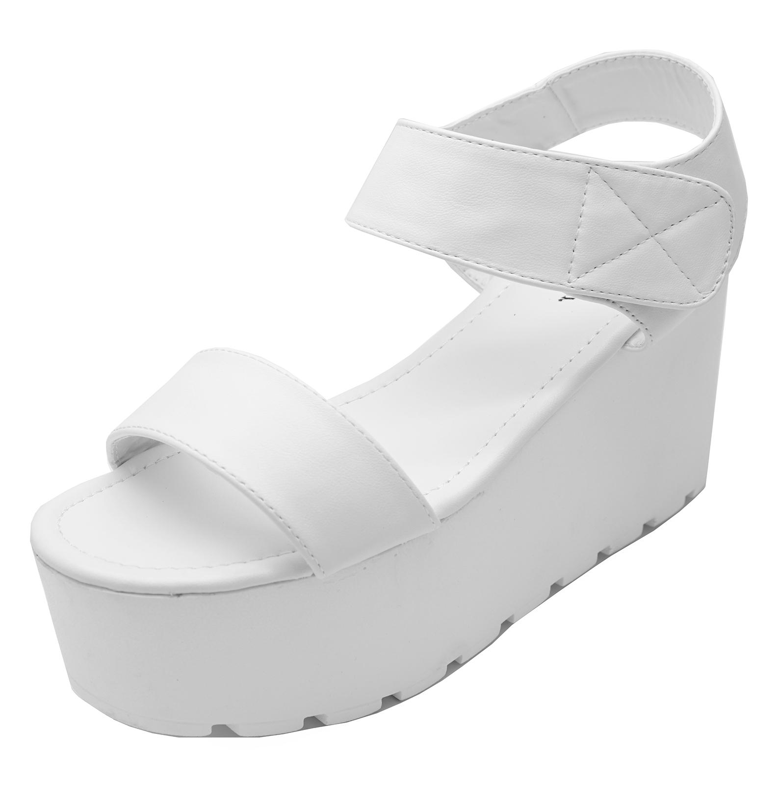 02e98f346d62 LADIES WHITE PEEP-TOE PLATFORM WEDGE SANDALS COMFY WALKING SHOES ...