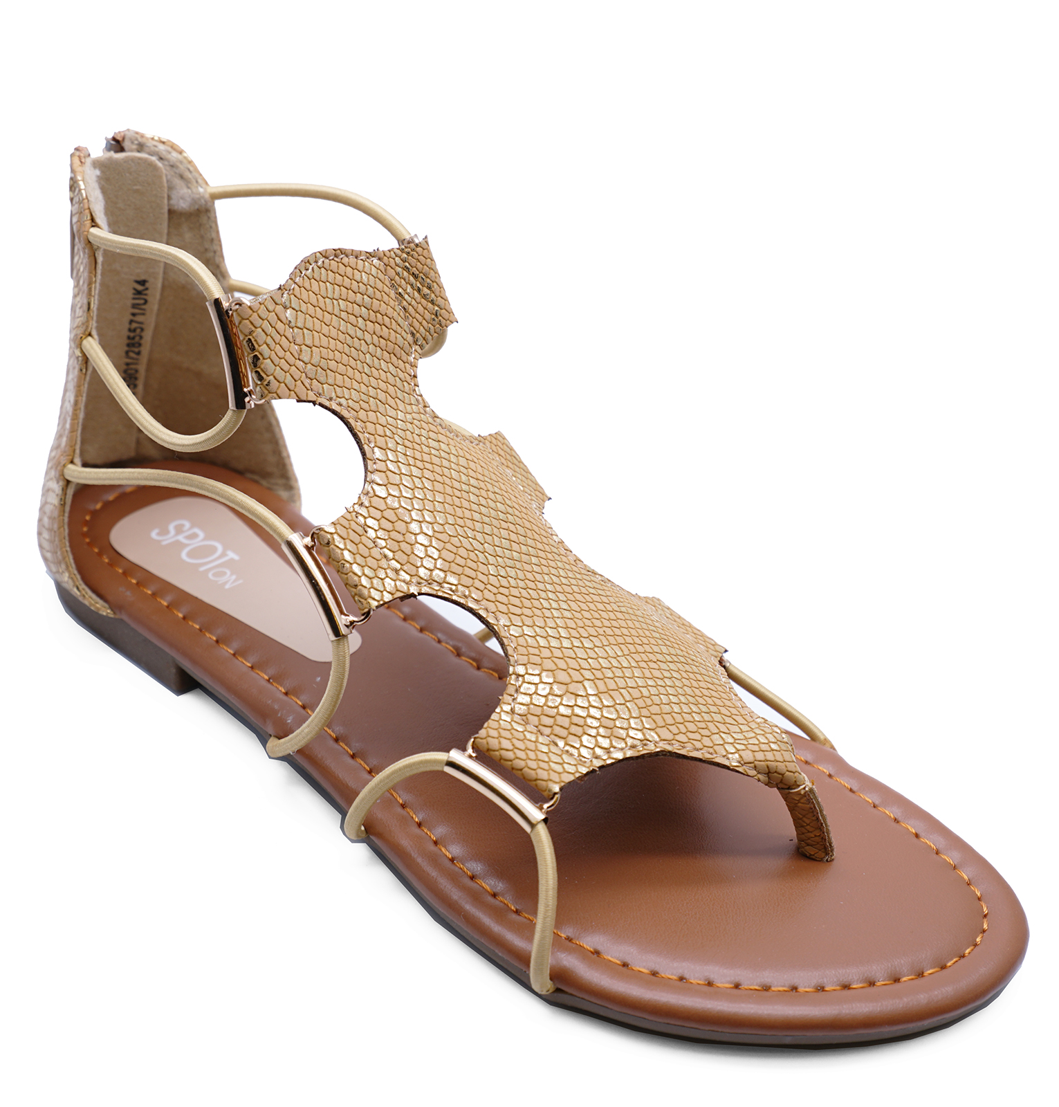 0fae71beff880 Sentinel LADIES GOLD FLAT STRAPPY ZIP-UP GLADIATOR SUMMER SANDALS FLIP-FLOP  SHOES UK 3