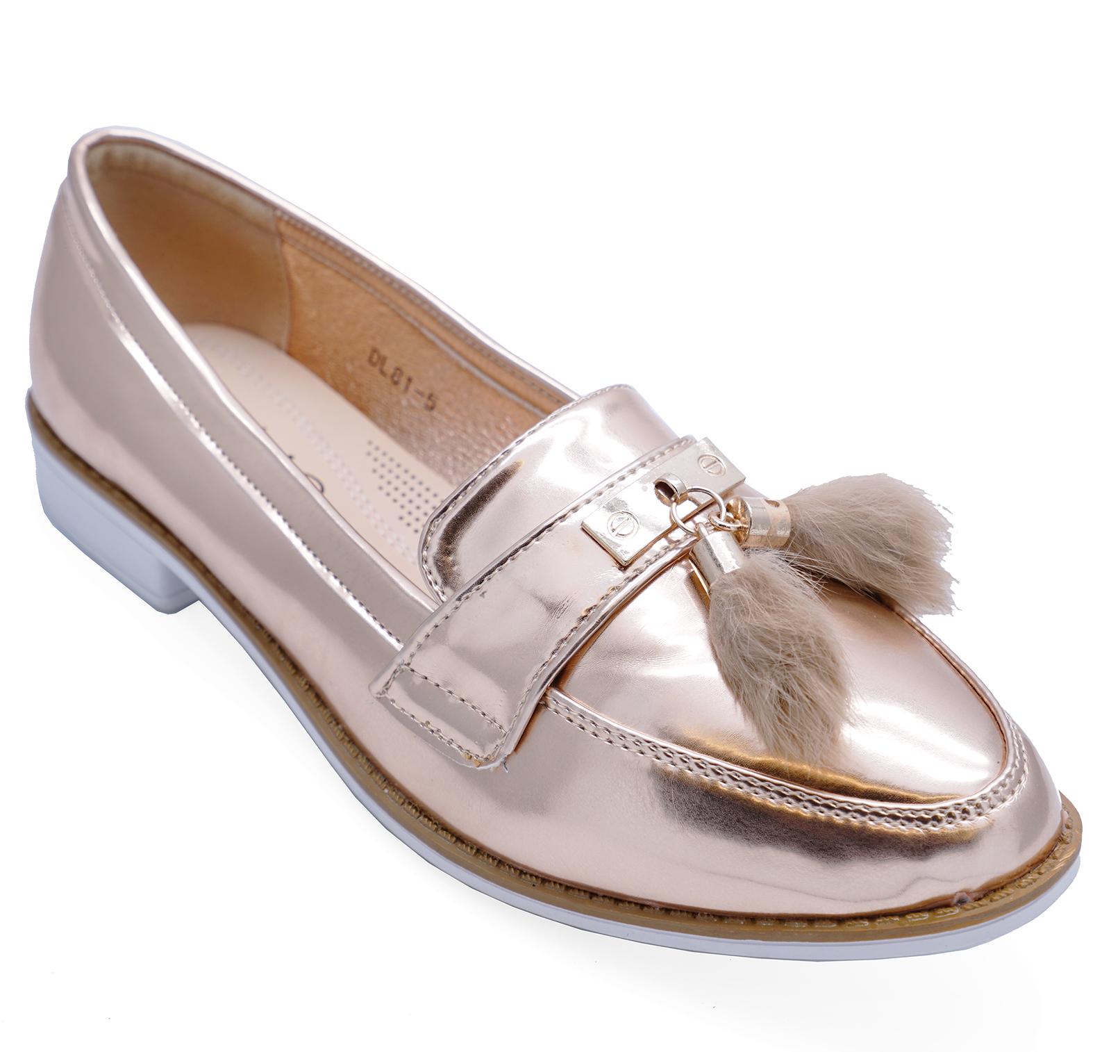 89036b48f56 Sentinel womens rose gold patent flat comfy slip on loafers smart tassle pumps  shoes jpg 1600x1514