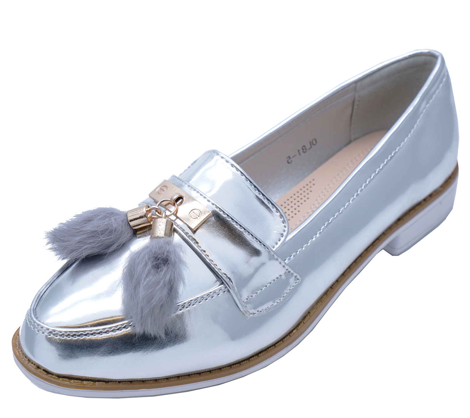 6284e9abac4 Sentinel WOMENS SILVER PATENT FLAT COMFY SLIP-ON LOAFERS SMART TASSLE PUMPS  SHOES UK 3-
