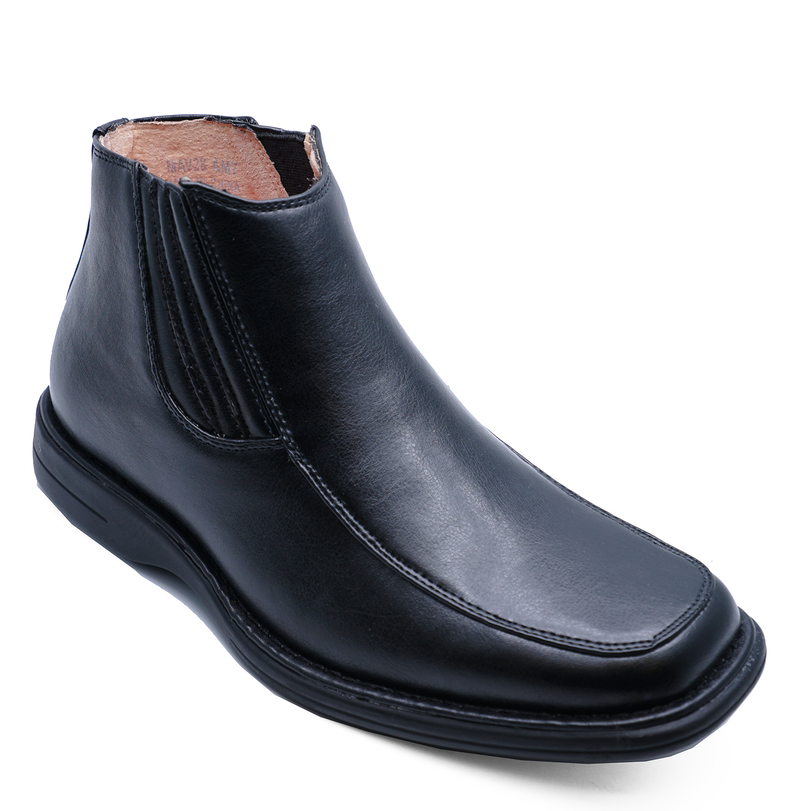 7fe5ff75607a5 Sentinel MENS BLACK SMART FORMAL WEDDING PULL-ON ANKLE WORK BOOTS SHOES  SIZES 7-11
