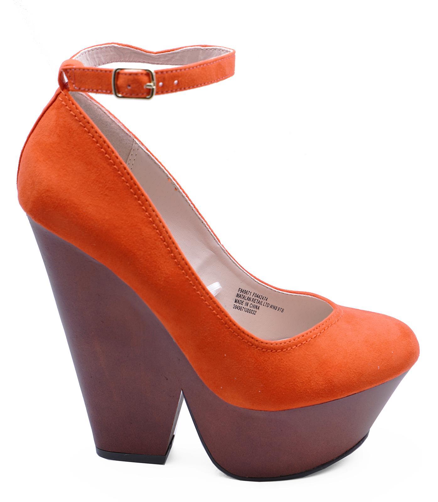 eb59287b532 Details about WOMENS ORANGE SLIP-ON PLATFORM HIGH-HEEL WEDGES ANKLE STRAP  SHOES SIZES 3-8