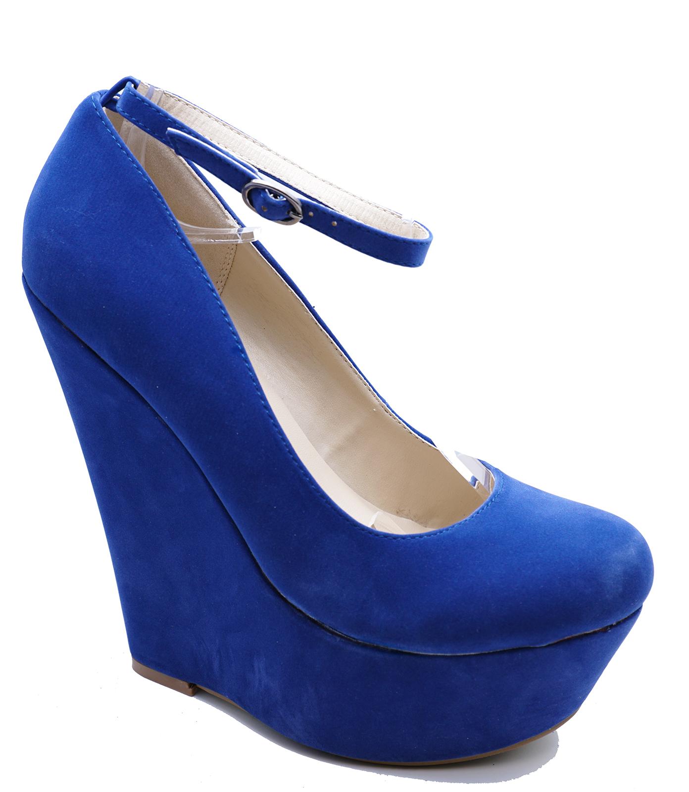 2c9602b0d3a8 Details about WOMENS BLUE FAUX-SUEDE SLIP-ON PLATFORM WEDGES PARTY PROM  SHOES SIZES 3-7