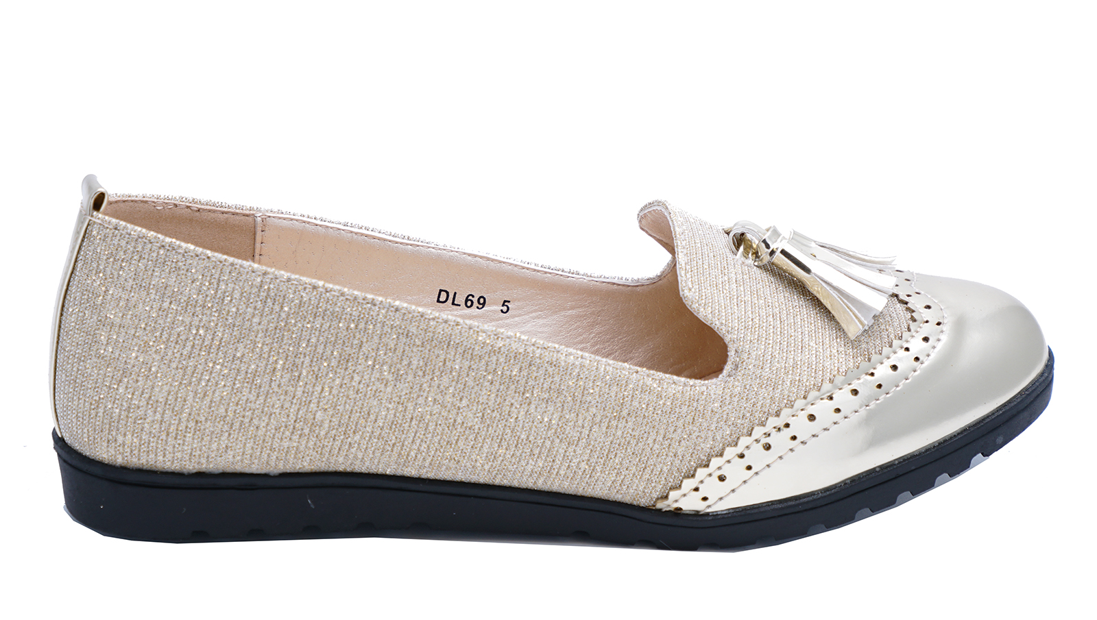 0ff7d253088 Sentinel LADIES SMART GOLD SLIP-ON LOAFERS CASUAL WORK TASSLE COMFY FLAT  SHOES SIZES 3-