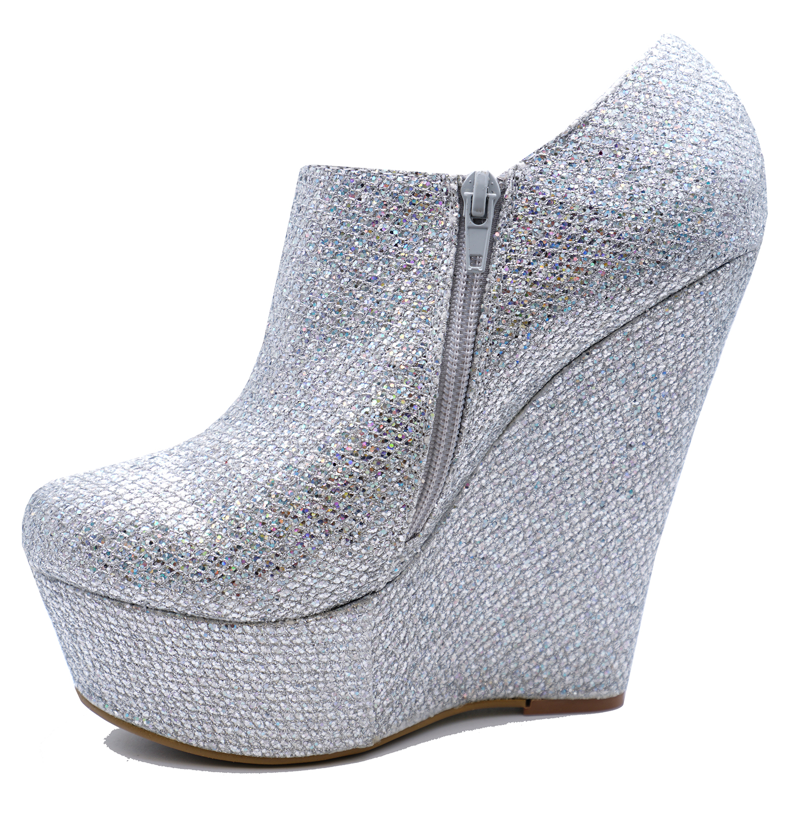 901049a38fb Sentinel WOMENS SILVER GLITTER ZIP-UP WEDGE PLATFORM ANKLE CHELSEA BOOTS  SHOES SIZES 3-8