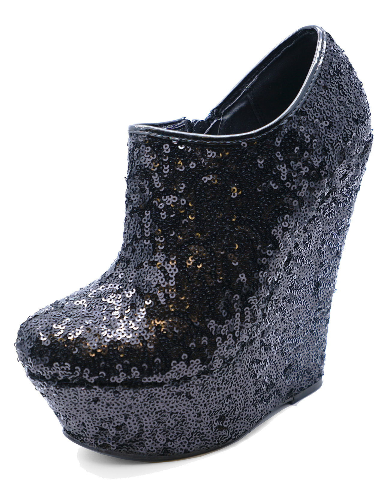 daacd289246479 WOMENS BLACK SEQUIN ZIP-UP WEDGE PLATFORM ANKLE CHELSEA BOOTS SHOES ...