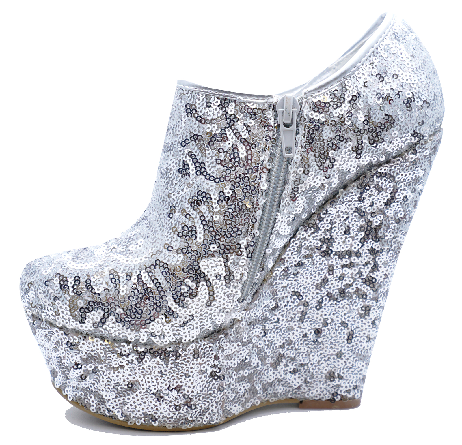 09241a40e16 Sentinel WOMENS SILVER SEQUIN ZIP-UP WEDGE PLATFORM ANKLE CHELSEA BOOTS  SHOES UK 3-8