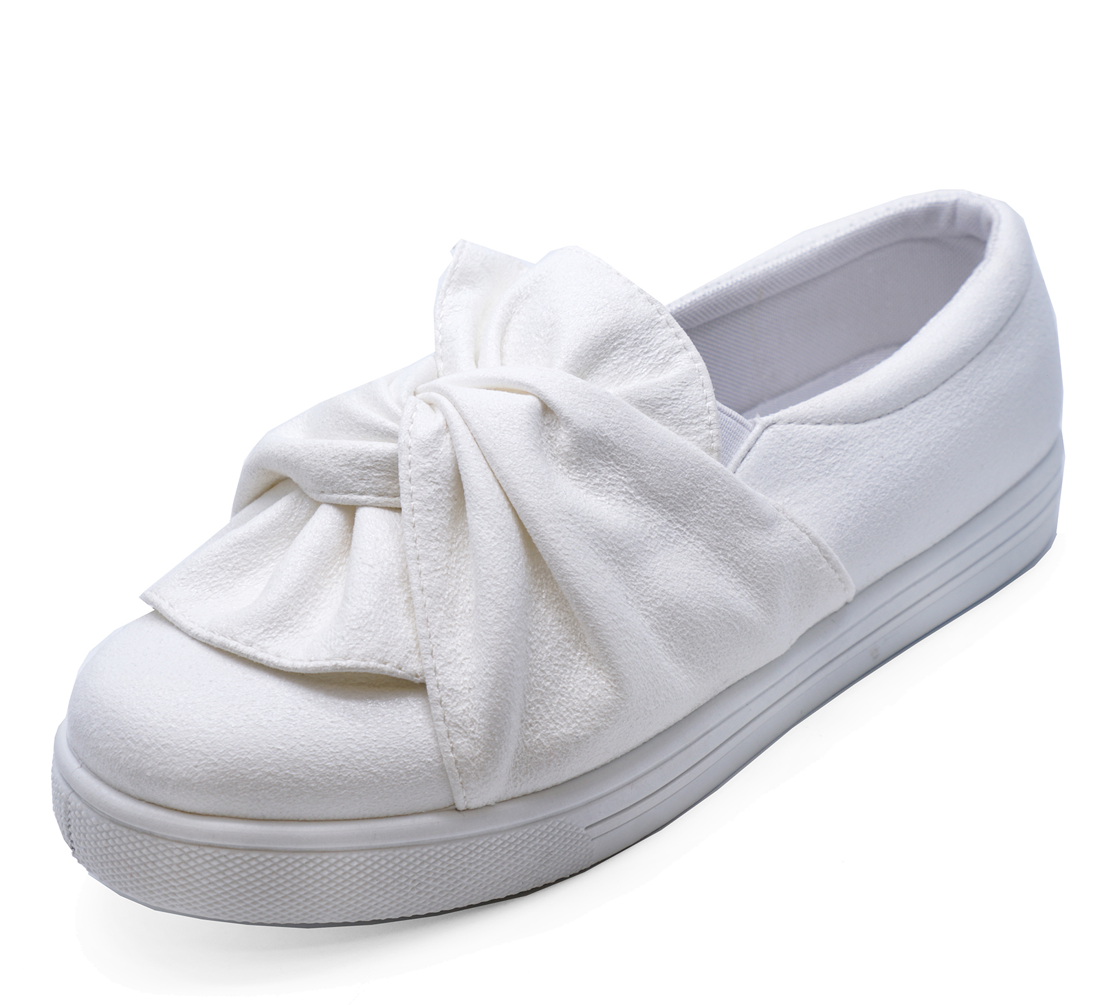 bc9f5782f Sentinel WOMENS FLAT WHITE SLIP-ON PLIMSOLLS CASUAL PUMPS COMFY TRAINERS  SHOES UK 3-8