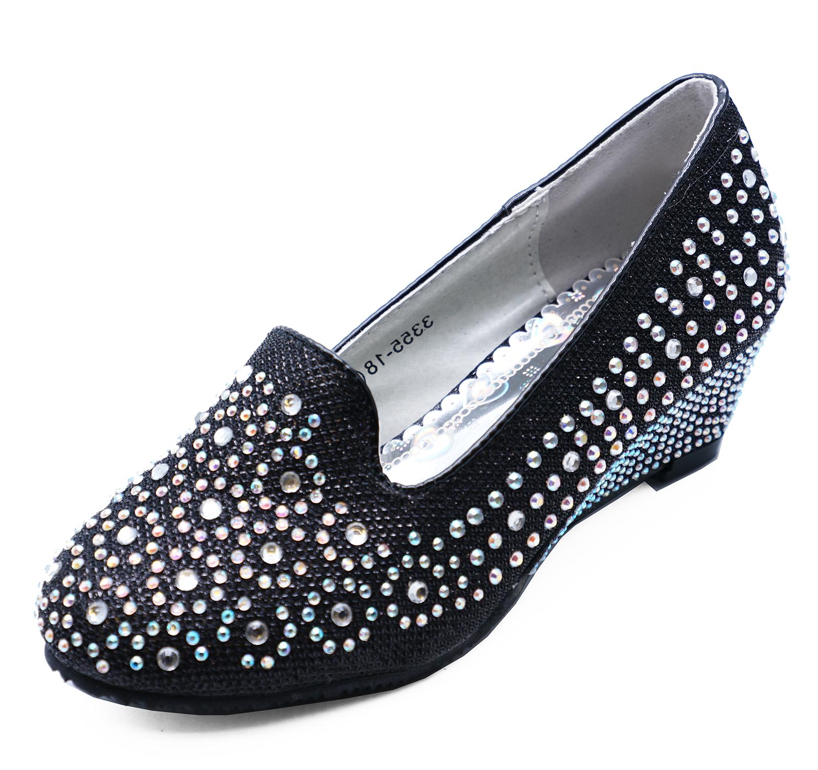 1785dbbec Zapatos De Fiesta niñas Negro Diamante cuñas Vestir Niños Bombas ...