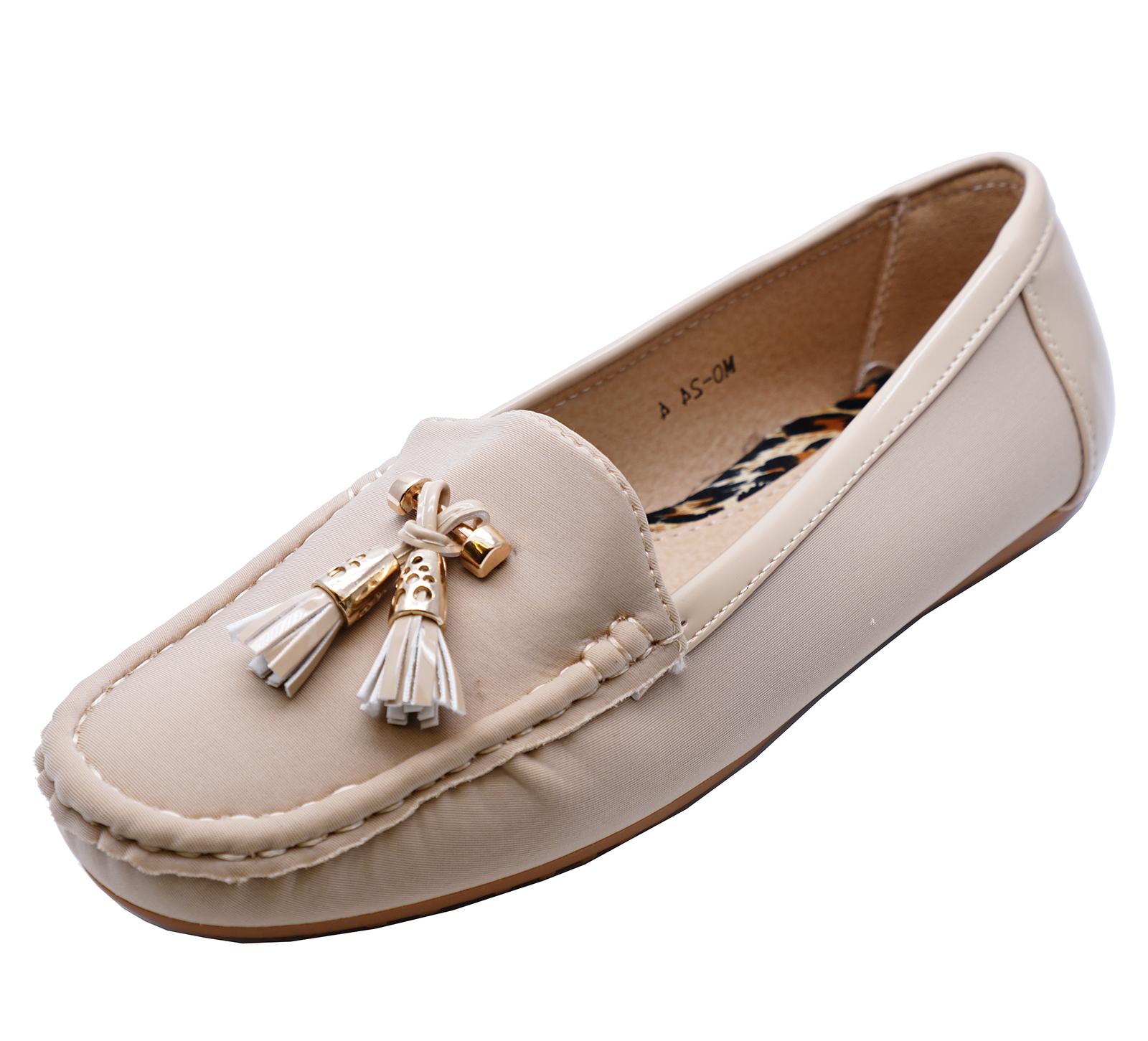 Damas-Beige-Sin-Cordones-Zapatillas-de-trabajo-MOCASIN-Informal-Comodo-Mocasines