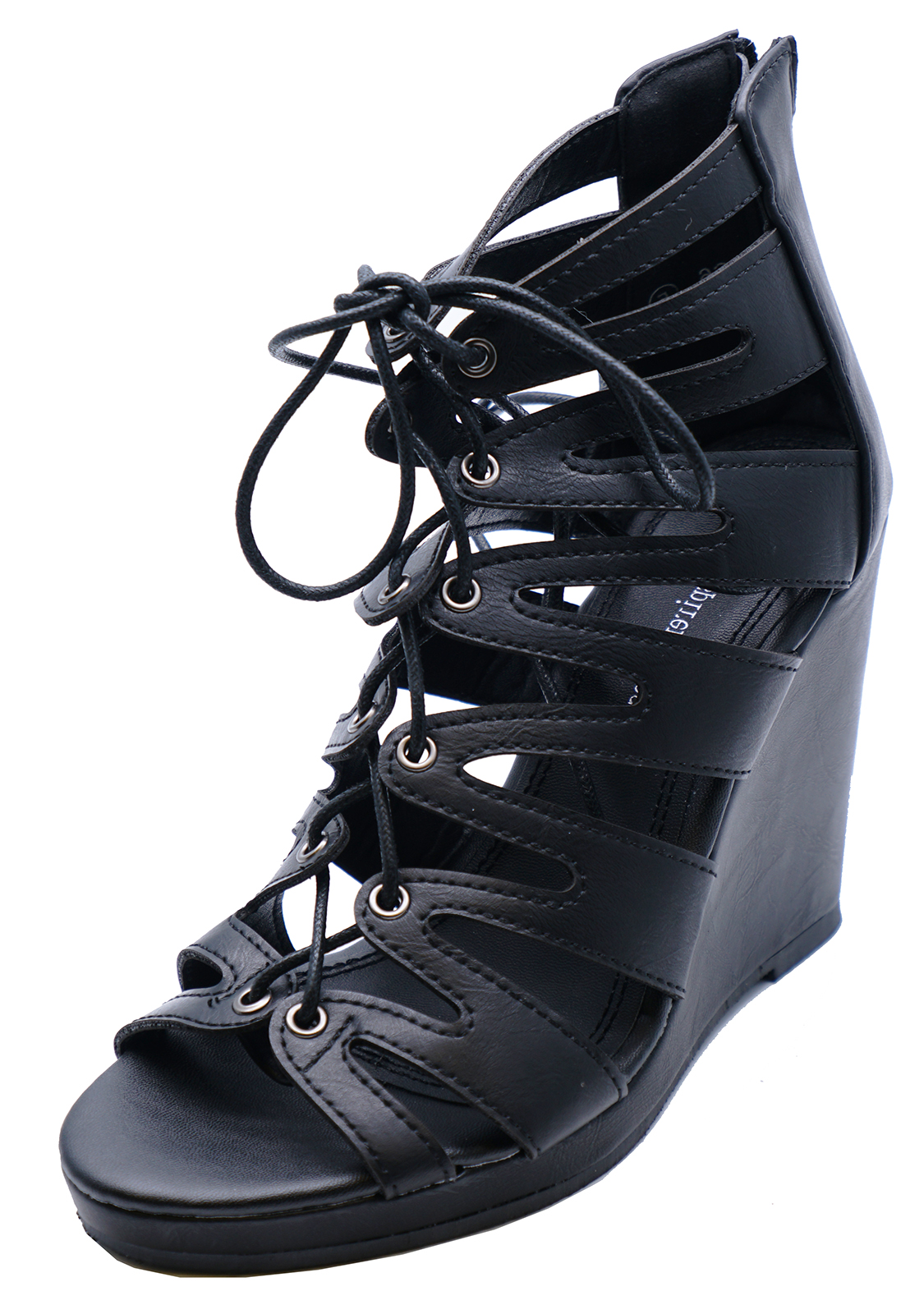 Sentinel WOMENS BLACK LACE-UP SUMMER STRAPPY WEDGES SANDALS OPEN-TOE SHOES  SIZES 3- b047f1d5f8