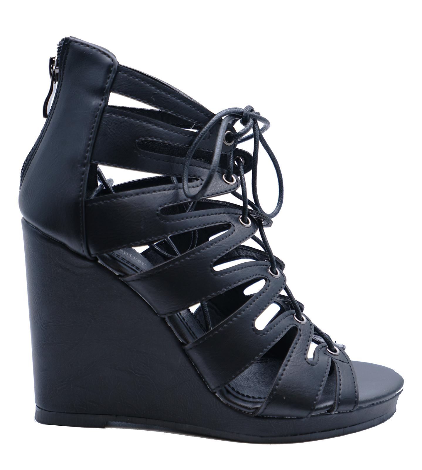 1e7835201405 Sentinel WOMENS BLACK LACE-UP SUMMER STRAPPY WEDGES SANDALS OPEN-TOE SHOES  SIZES 3-