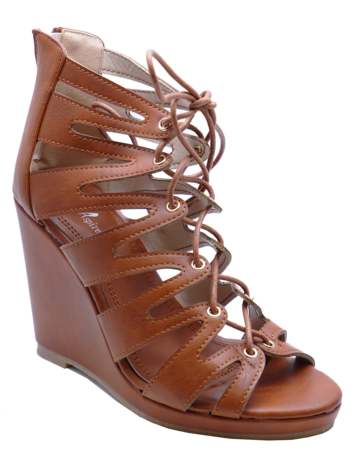 Sentinel WOMENS BROWN LACE-UP SUMMER STRAPPY WEDGES SANDALS OPEN-TOE SHOES  SIZES 3- 93e75e562