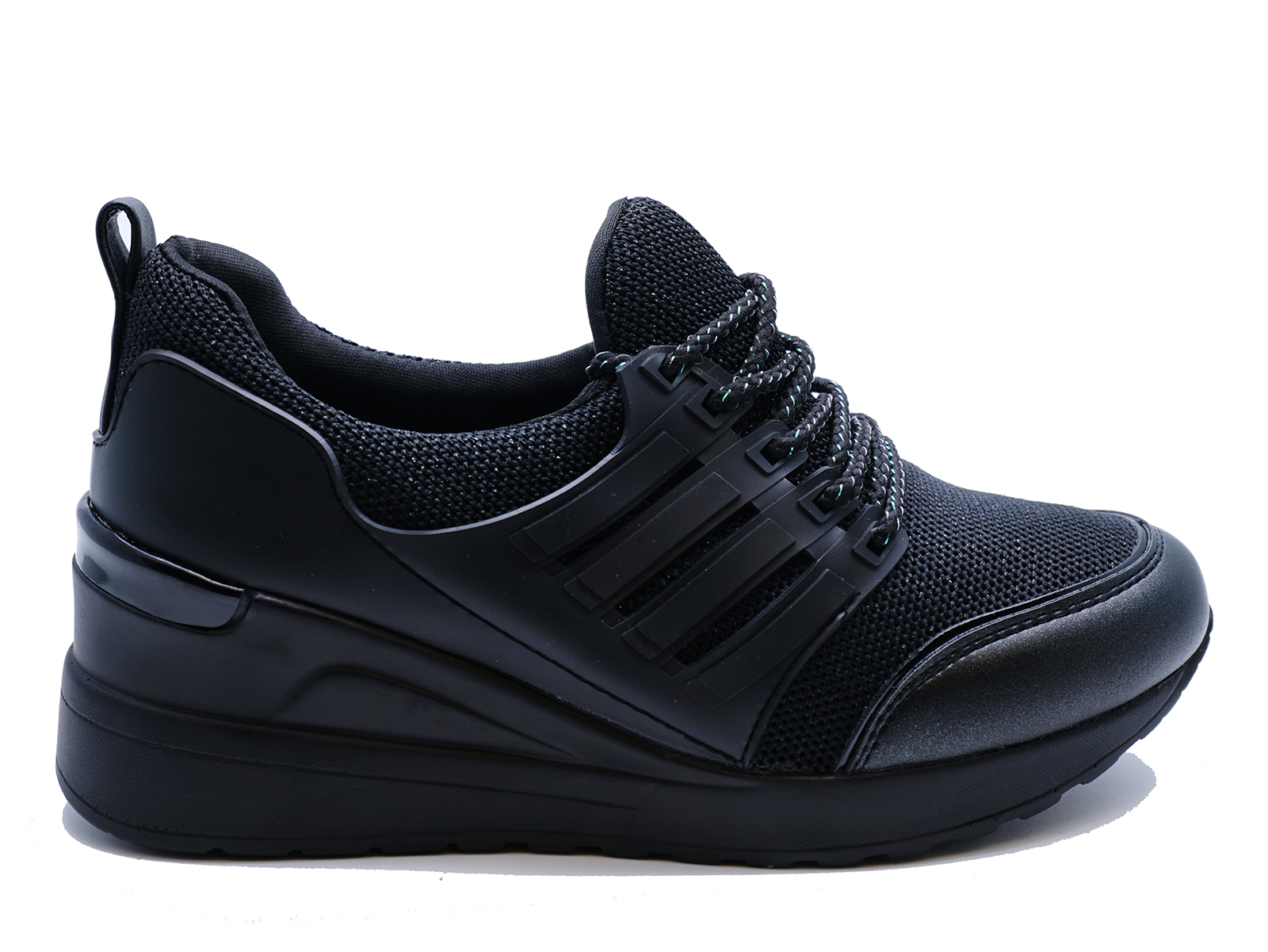 4ee243dbb67 Sentinel WOMENS BLACK SLIP-ON HIDDEN-WEDGE TRAINERS CASUAL PLIMSOLLS SHOES  SIZES 3-8