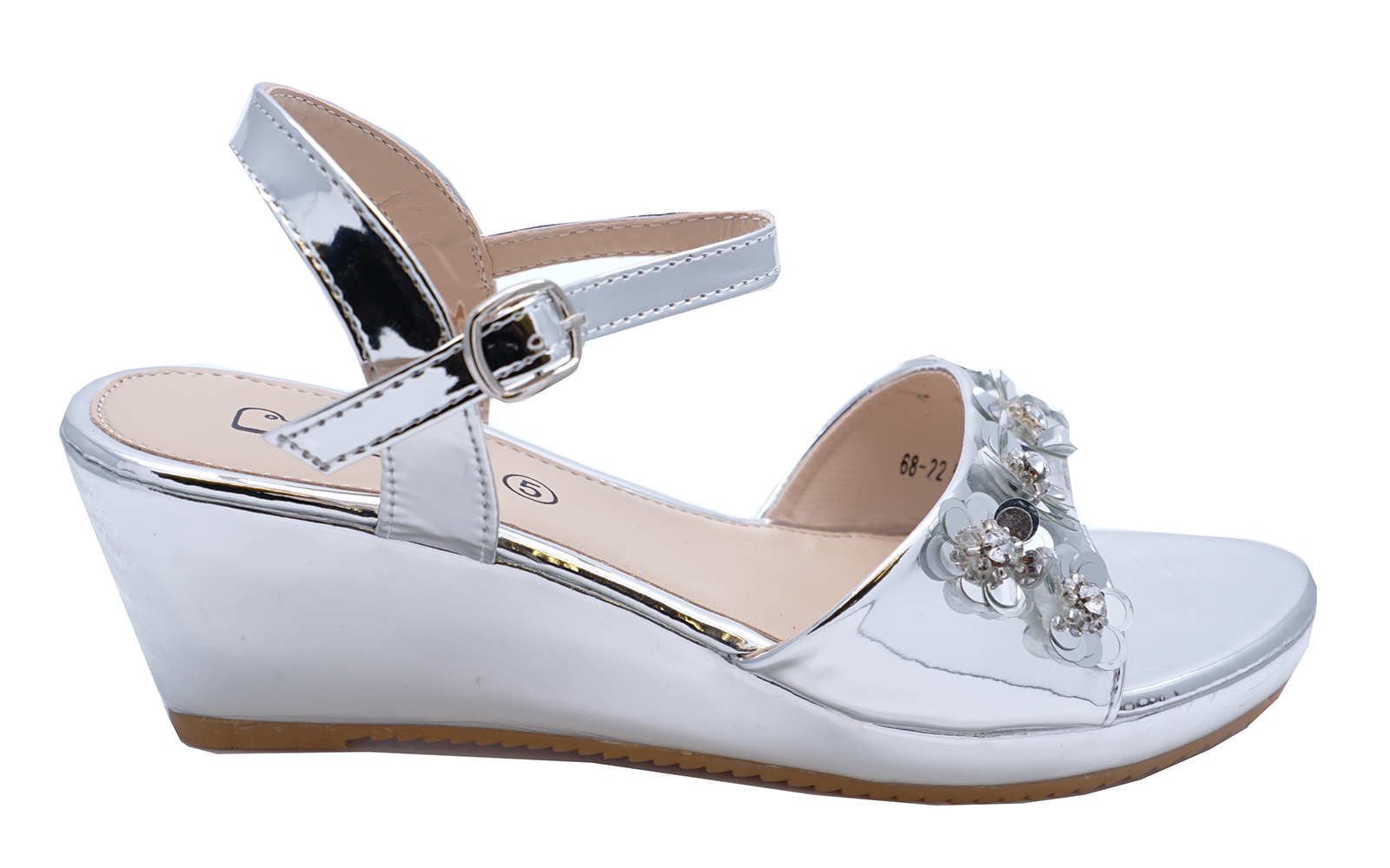 4a64580f1b7 Sentinel LADIES GIRLS SILVER WEDGES OPEN-TOE FLOWER BRIDESMAID WEDDING SHOES  UK 3-8