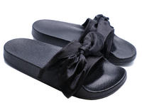 7618d57b2108 View Item LADIES BLACK SATIN SLIP-ON SLIDERS COMFY FLAT MULES HOLIDAY  SANDALS SHOES UK