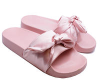 View Item LADIES PINK SATIN SLIP-ON SLIDERS COMFY FLAT MULES SANDALS HOLIDAY SHOES UK 3-8