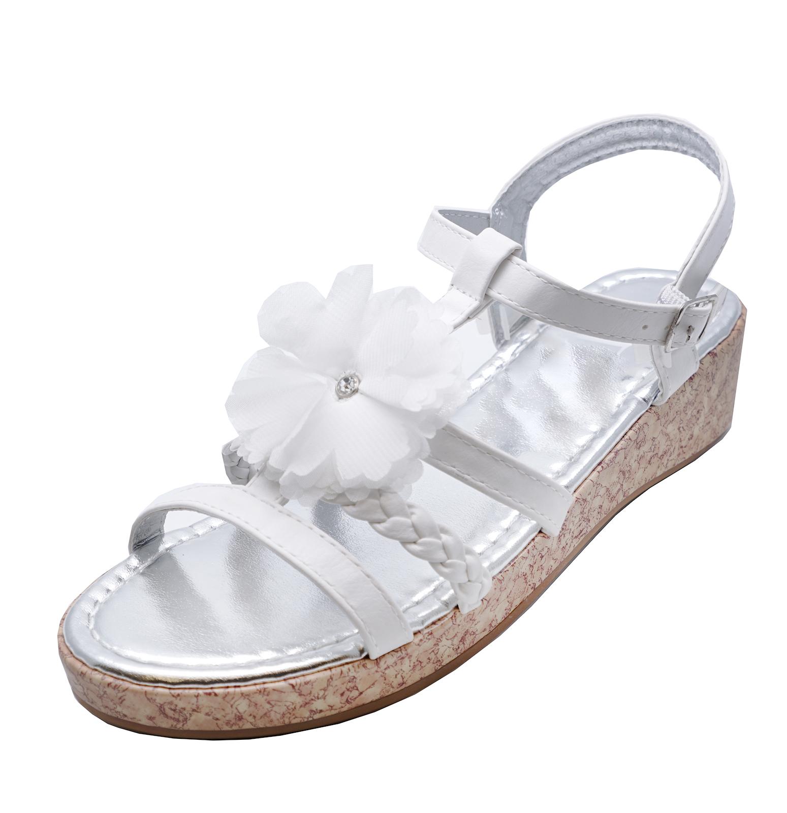 b854492c65ae Sentinel KIDS GIRLS CHILDRENS WHITE FLOWER WEDGE SANDALS SUMMER HOLIDAY  SHOES SIZES 8-4