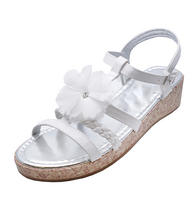 View Item KIDS GIRLS CHILDRENS WHITE FLOWER WEDGE SANDALS SUMMER HOLIDAY SHOES SIZES 8-4