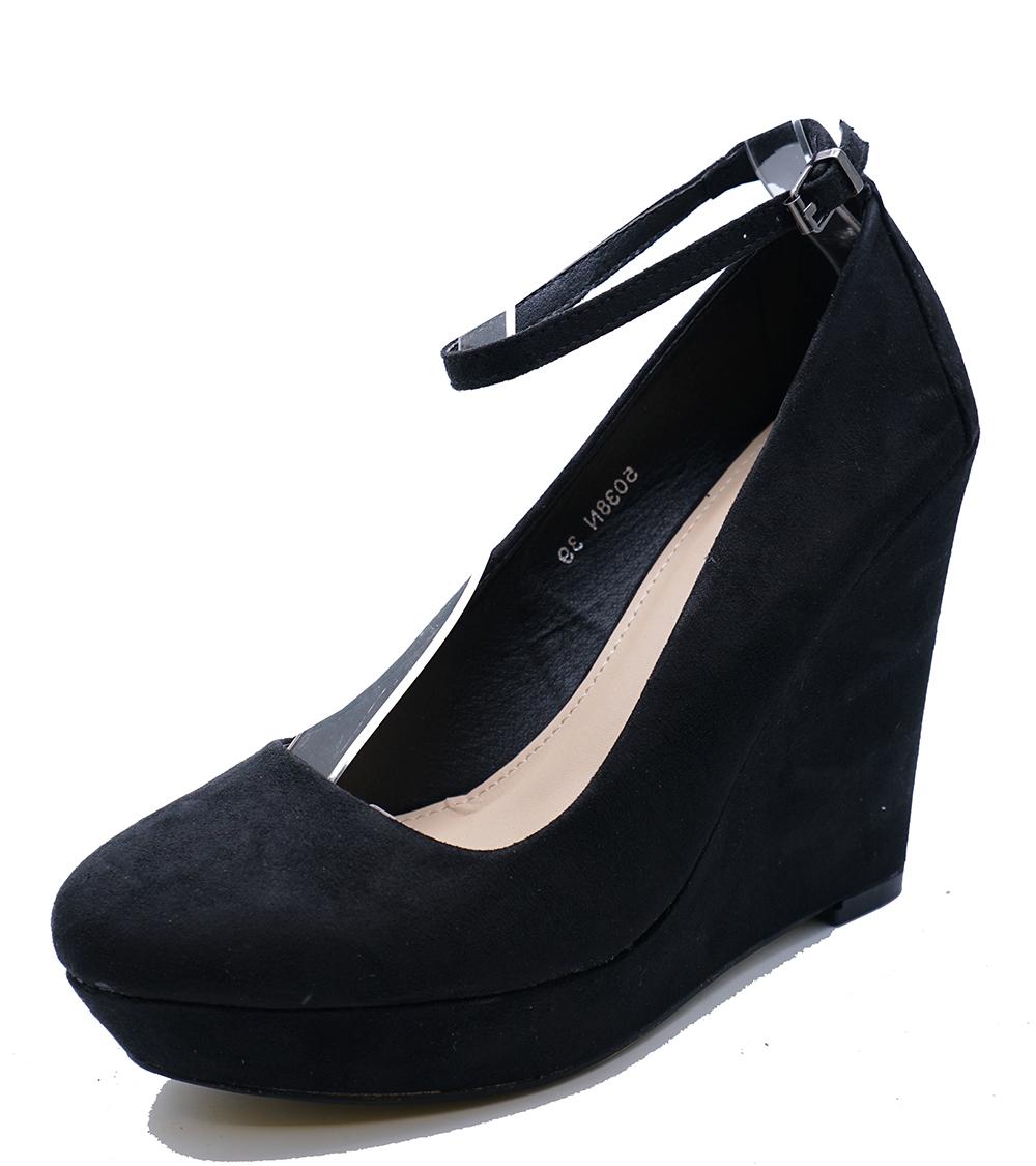 3b7b1efcbfeb Ladies Black Slip-on Wedges Platform Court Smart Casual Shoes PUMPS ...