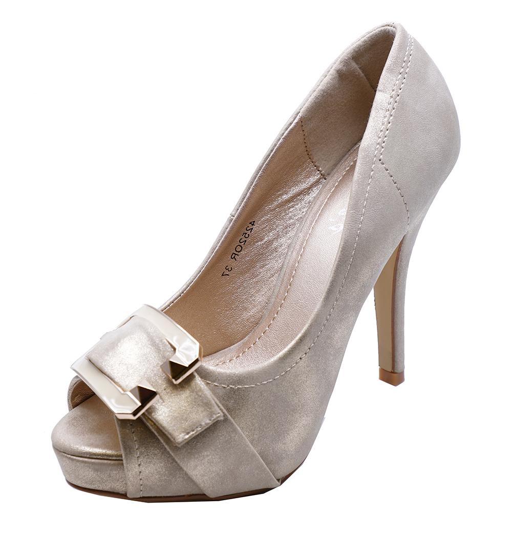 de1a3e8642c LADIES GOLD PEEPTOE ELEGANT HIGH-HEEL SLIP-ON PLATFORM COURT SHOES ...