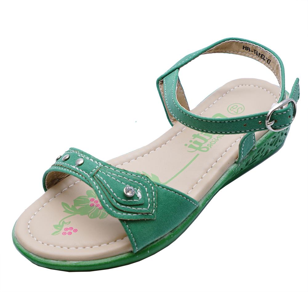 Kids Girls Childrens Green Low Wedge Summer Sandals Cute