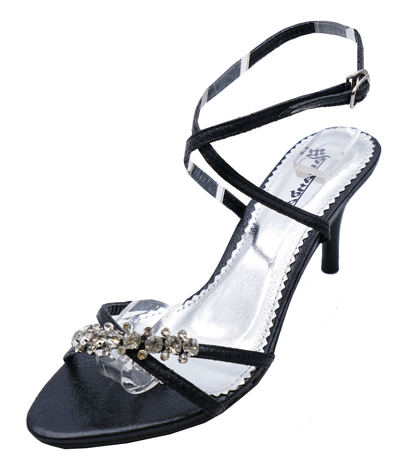 LADIES BLACK KITTEN HEEL STRAPPY EVENING DIAMANTE ELEGANT SANDALS ...