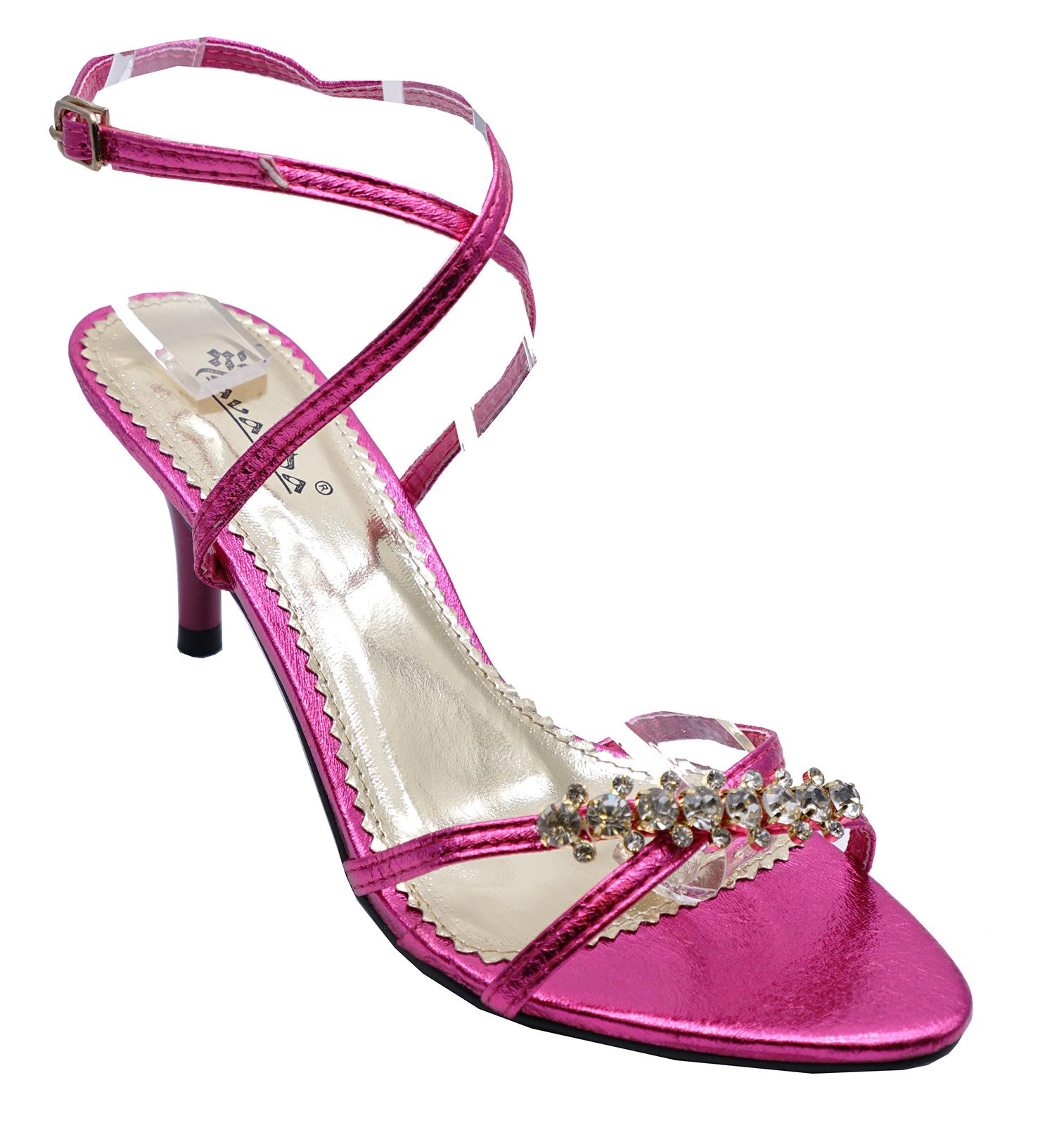 Pink Kitten Sandals Diamante Strappy 3 Ladies Heel Elegant Evening Shoes 8 Uk 6pZBqx
