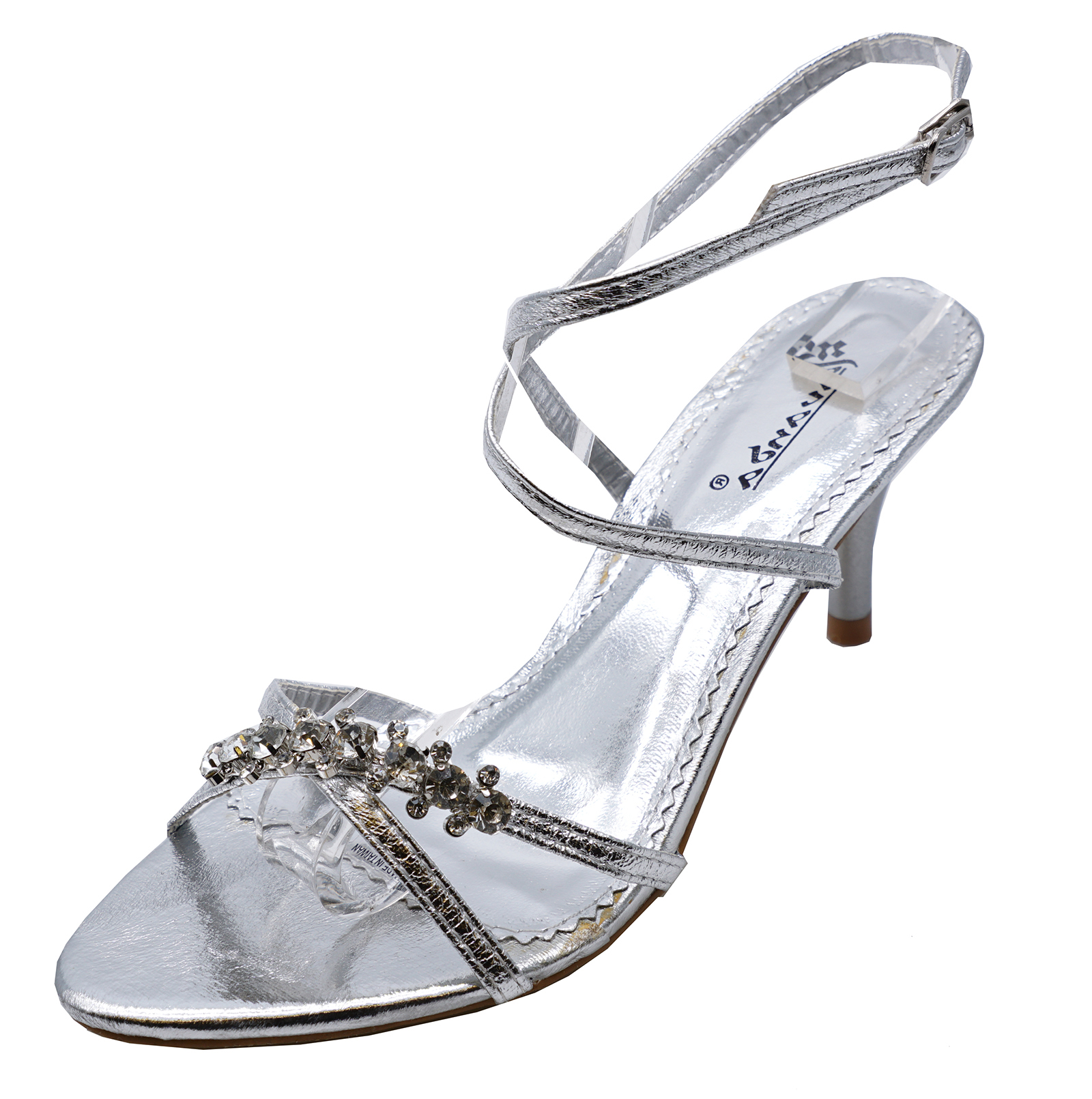 Sentinel LADIES SILVER KITTEN HEEL STRAPPY EVENING DIAMANTE ELEGANT SANDALS  SHOES UK 3-8
