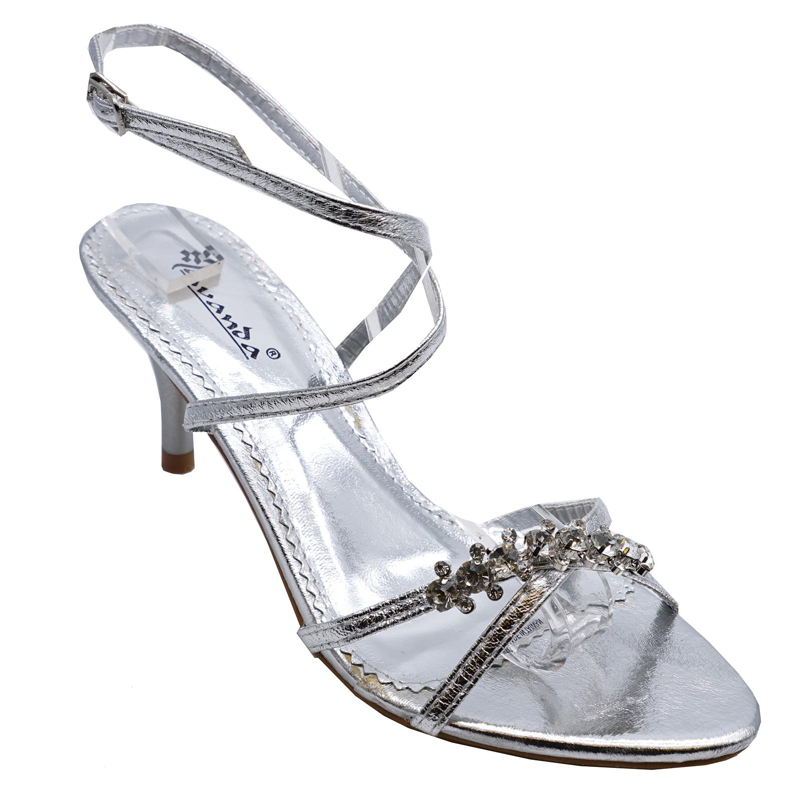 70e5da3141d Ladies Silver Kitten Heel Strappy Evening Diamante Elegant Sandals Shoes UK  3-8. About this product. Picture 1 of 4  Picture 2 of 4  Picture 3 of 4   Picture ...