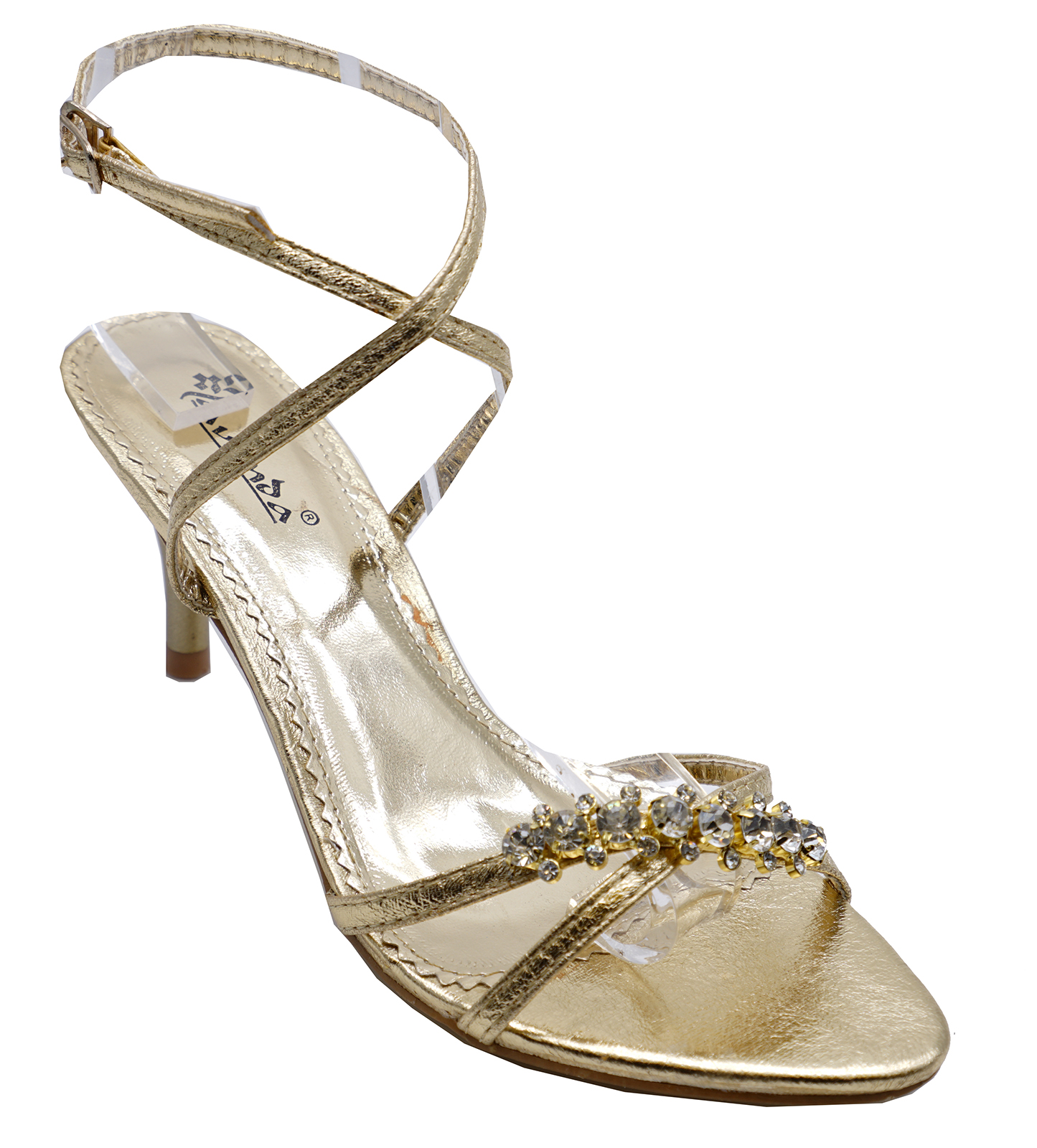 Ladies Gold Kitten Heel Strappy Evening Diamante Elegant Sandals ...