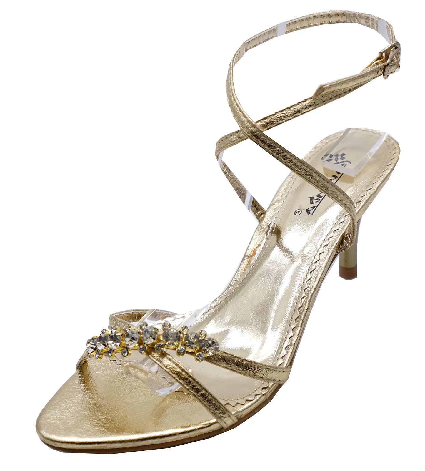 73bc14d2b91 Ladies Gold Kitten Heel Strappy Evening Diamante Elegant Sandals Shoes UK  3-8. About this product. Picture 1 of 4  Picture 2 of 4  Picture 3 of 4 ...