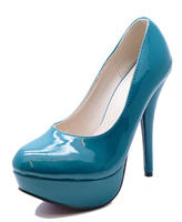 f43a44d6893b View Item LADIES BLUE PATENT SLIP-ON STILETTO HIGH HEEL PLATFORM COURT SHOES  SIZES 3