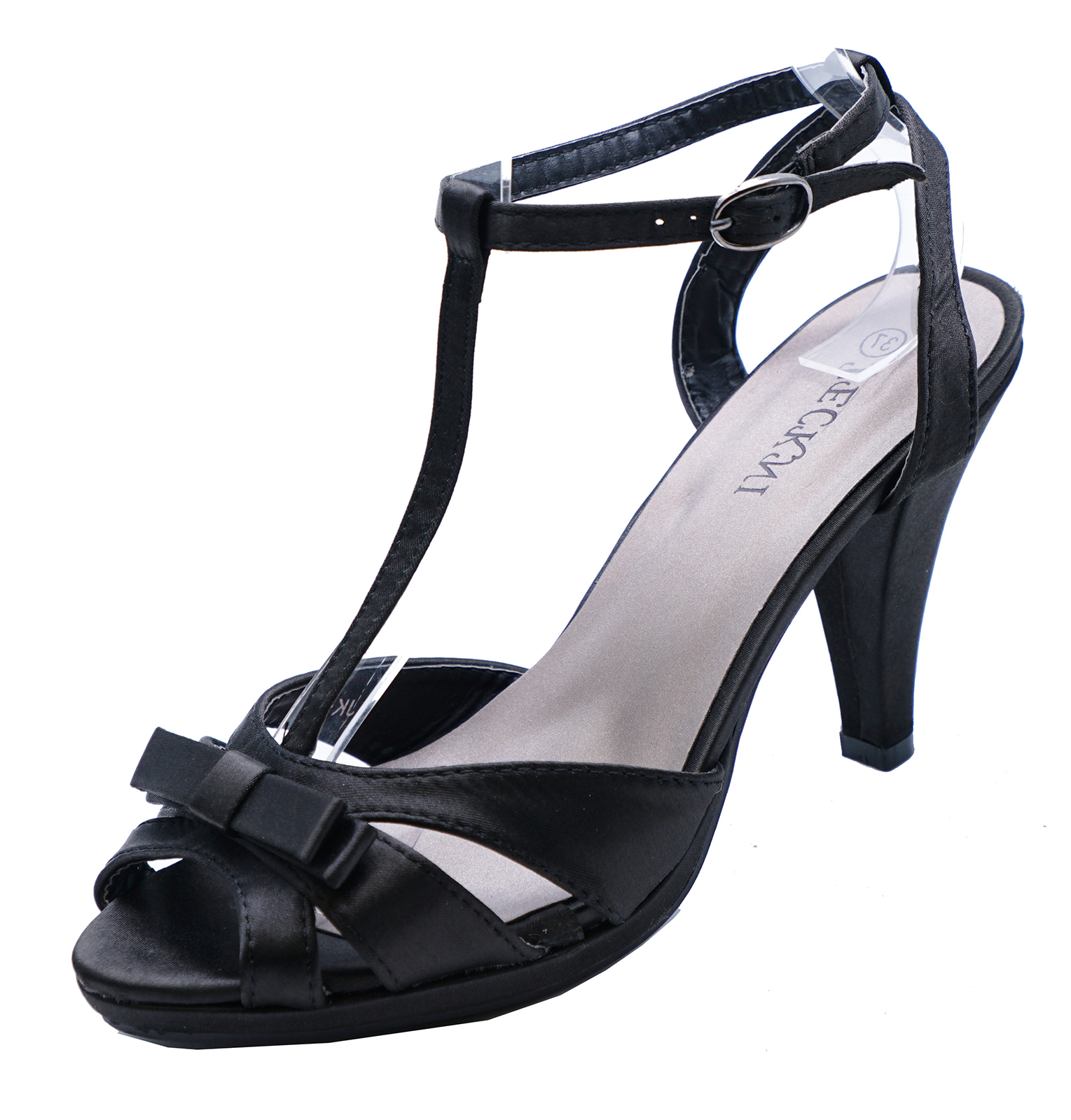 Sentinel LADIES BLACK SATIN STRAPPY SLIP-ON PEEP-TOE EVENING SHOES T-BAR  SANDALS db2226269