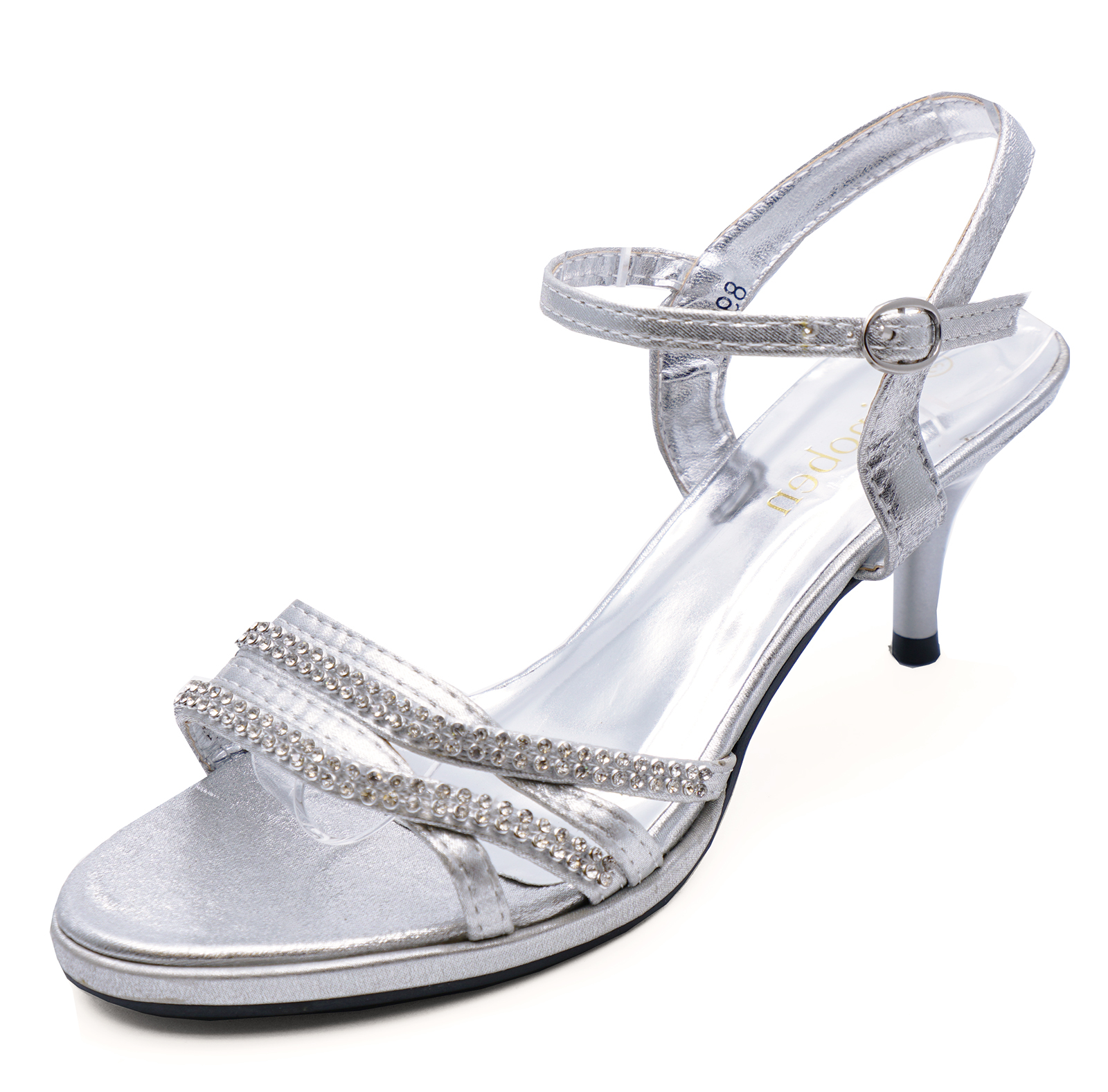 Sentinel WOMENS SILVER BRIDE WEDDING DIAMANTE SANDALS BRIDESMAID PROM SHOES  SIZES 3-8 290c6a9900