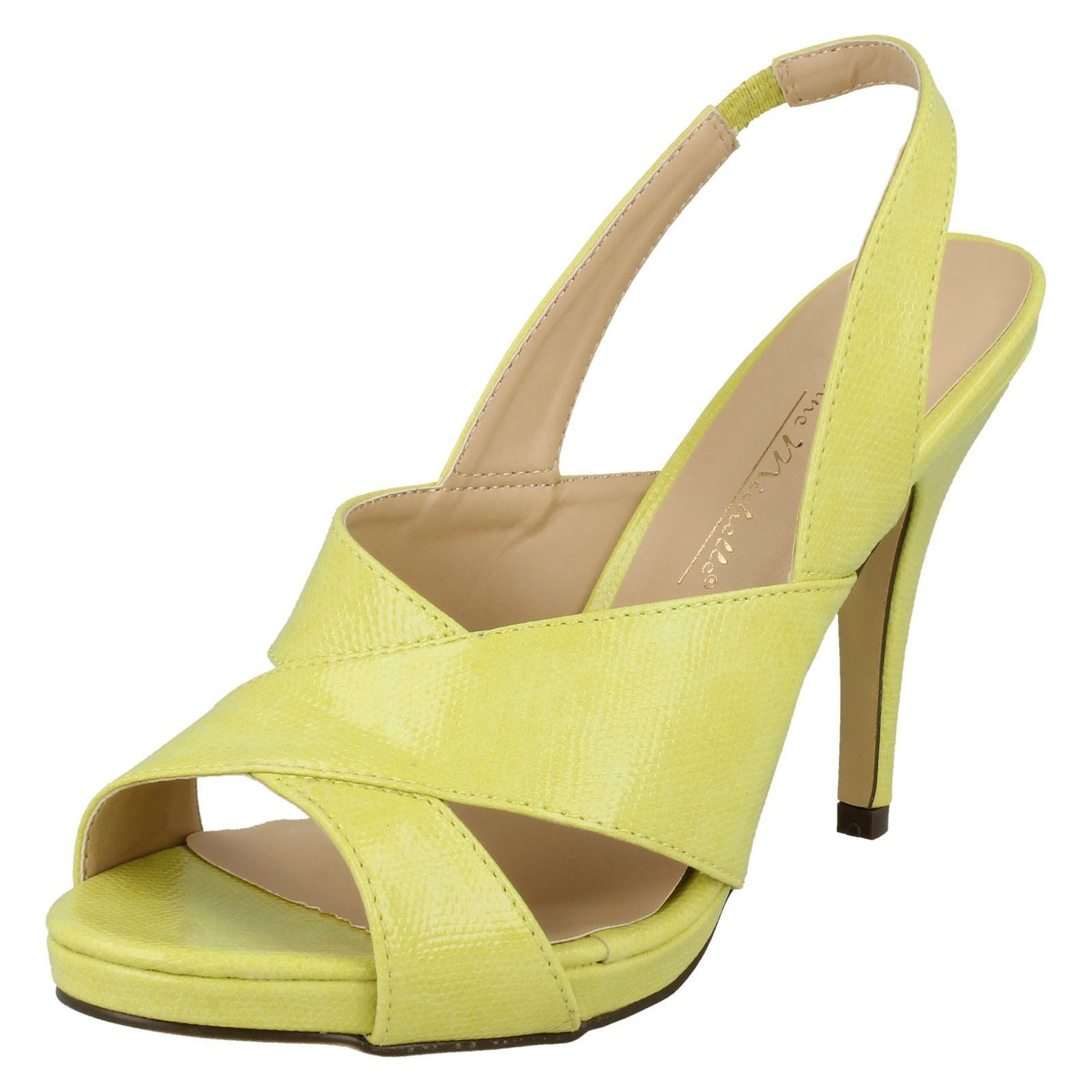 019ba4667ce Sentinel LADIES YELLOW SLING-BACK PLATFORM STILETTO STRAPPY SANDALS SHOES  PUMPS SIZES 3-8