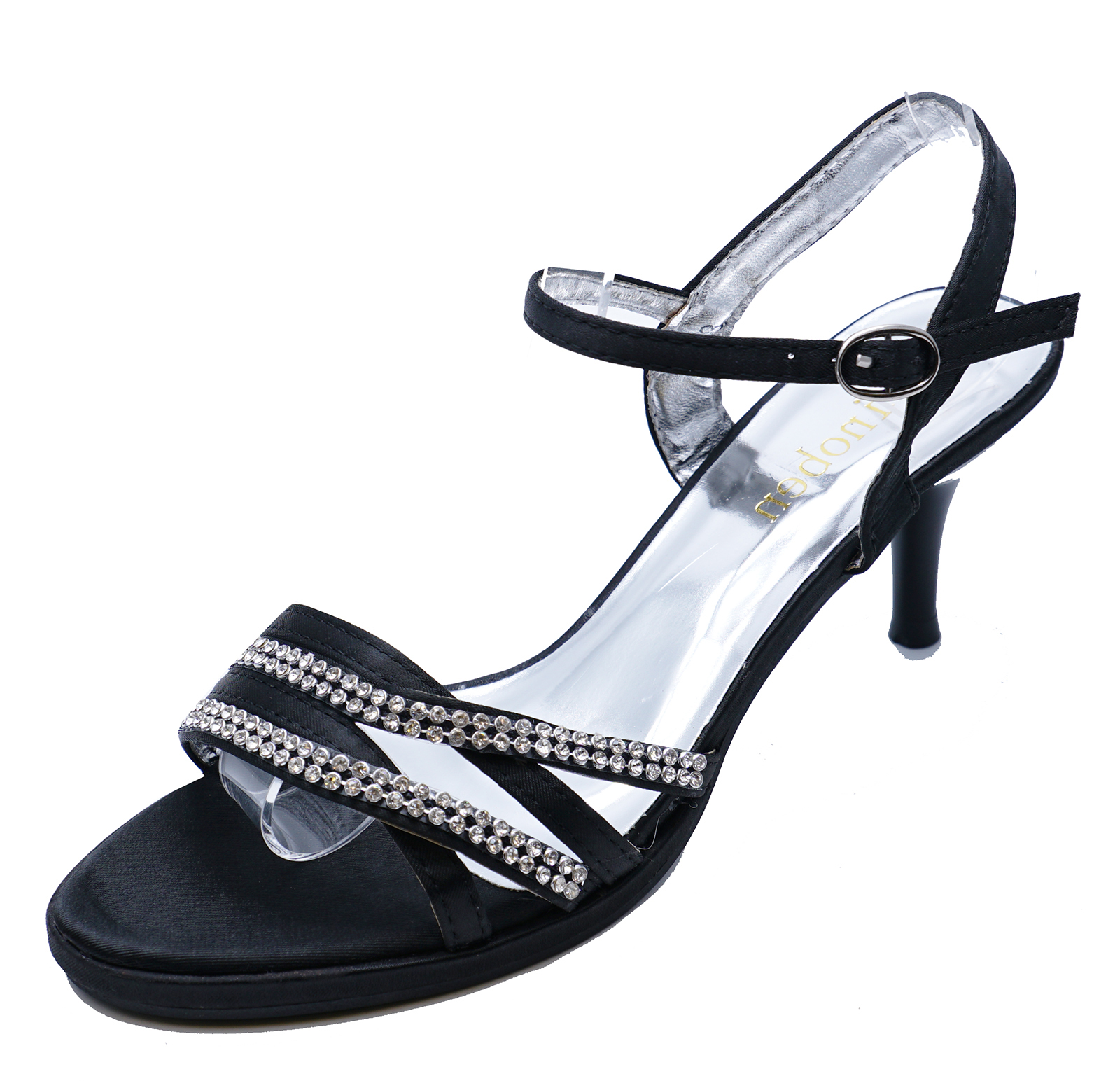 438da693c5c Details about WOMENS BLACK EVENING WEDDING DIAMANTE SANDALS BRIDESMAID PROM  SHOES SIZES 3-8