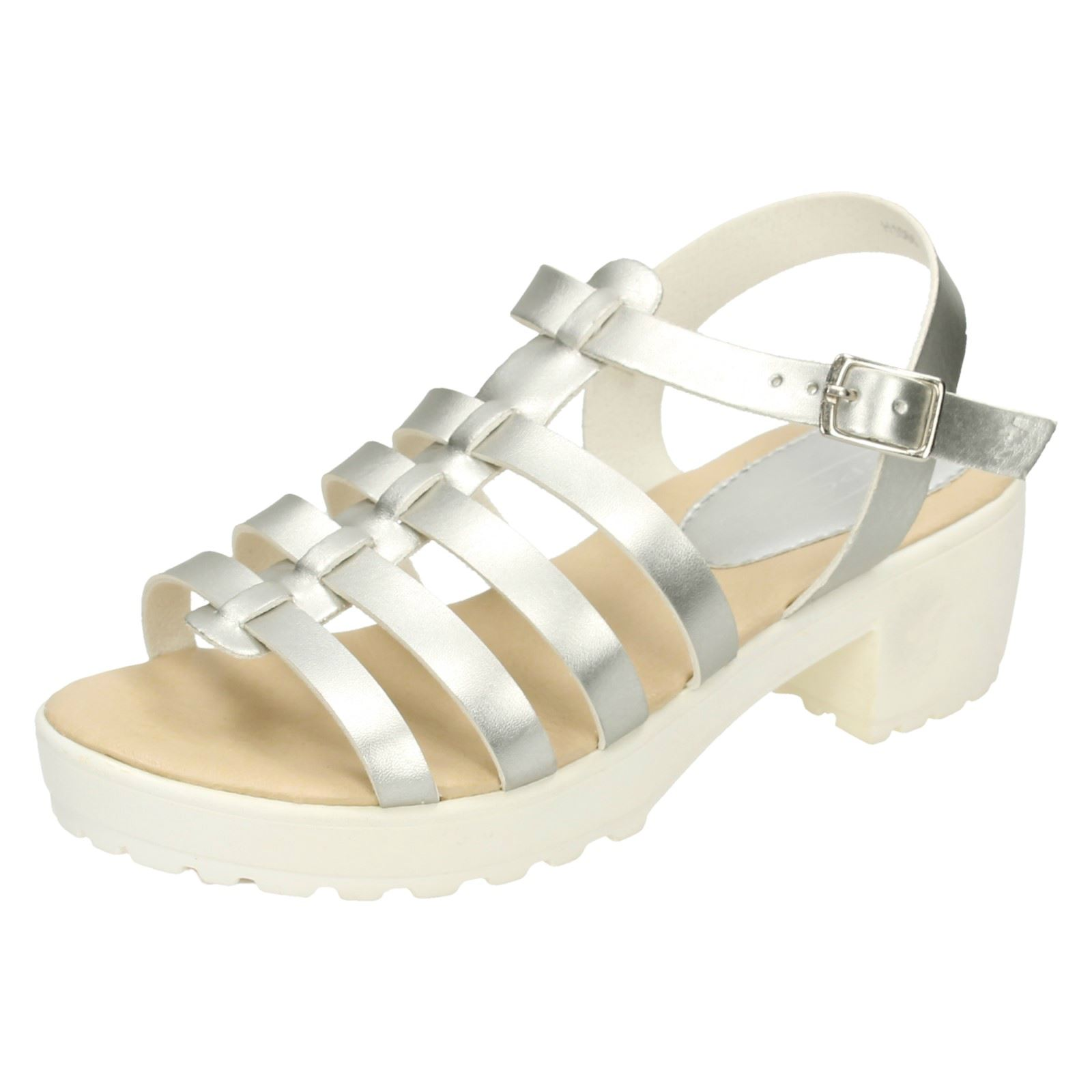 2d046e949 Sentinel KIDS GIRLS CHILDRENS SILVER STRAPPY SANDALS SUMMER HOLIDAY RETRO  SHOES UK 10-2