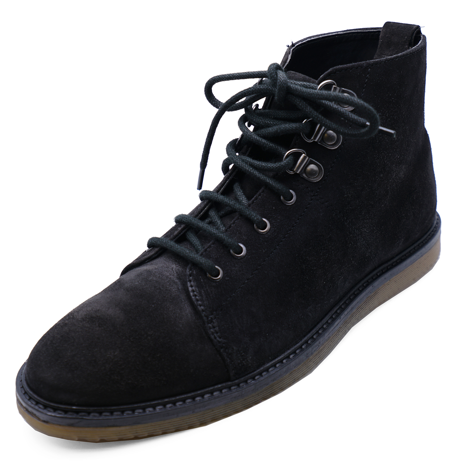 Mens Black Leather Lace Up Dealer Smart Casual Ankle Boots Work