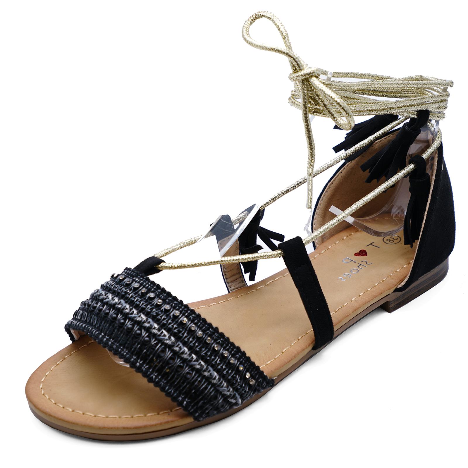 30a76a657d6049 Las Flat Black Tie Up Ankle Sandals Flip Flop Summer Open Toe