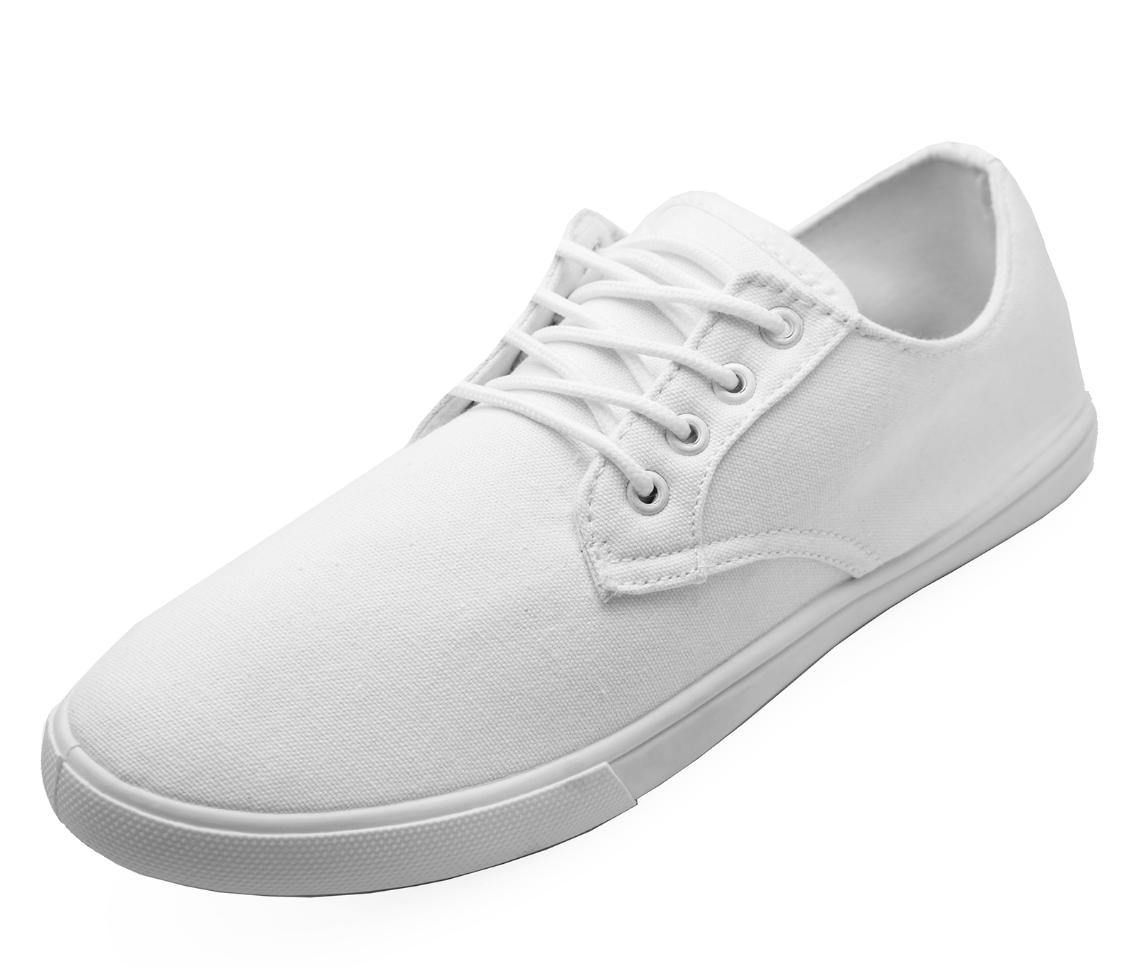 MENS LACE-UP WHITE CANVAS FLAT TRAINER